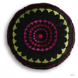 COUSSIN ROND BRODÉ  ROMANY  35x35Cm
